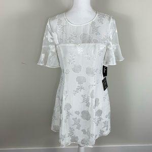 Lulus NWT white seashell dress flutter sleeves